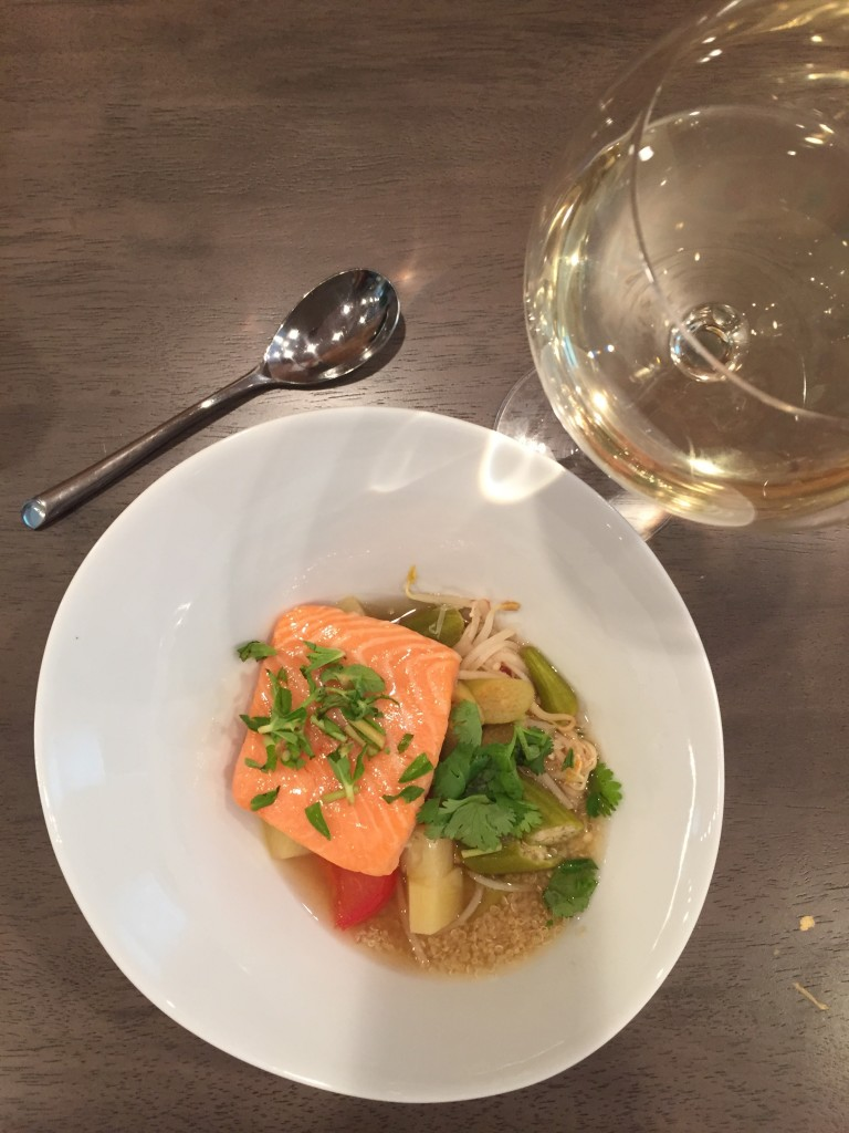 Canh Chua with sous vide salmon over quinoa