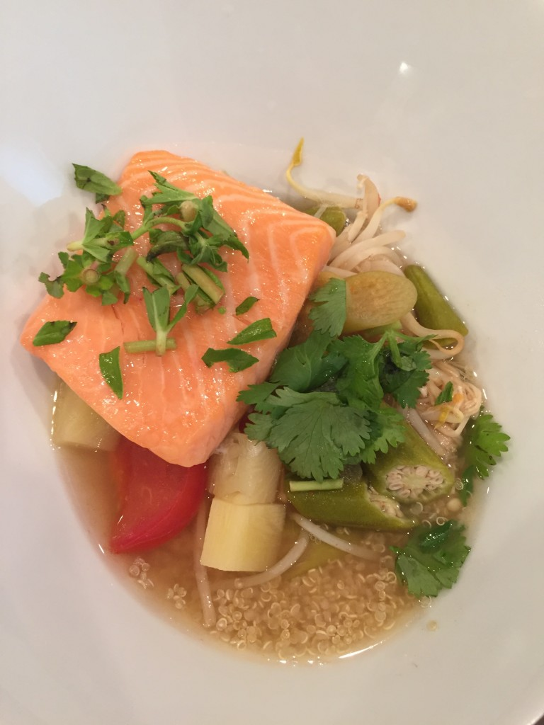 Canh Chua with Sous Vide Salmon over Quinoa