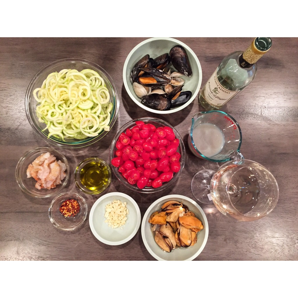 Mise en place, including the glass of wine you should be having while cooking!