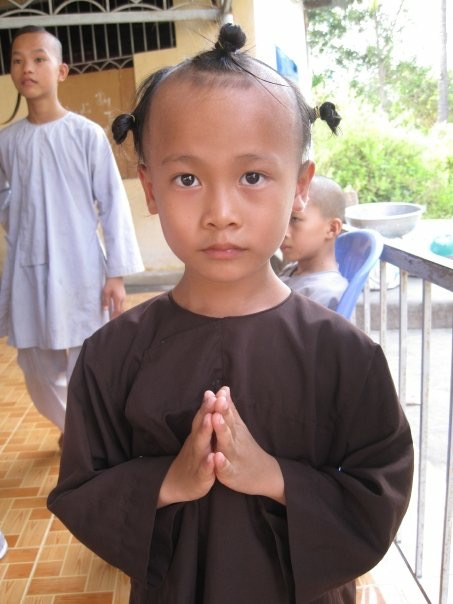 The children who live at the temple are orphans whom have the option to study to become a monk.