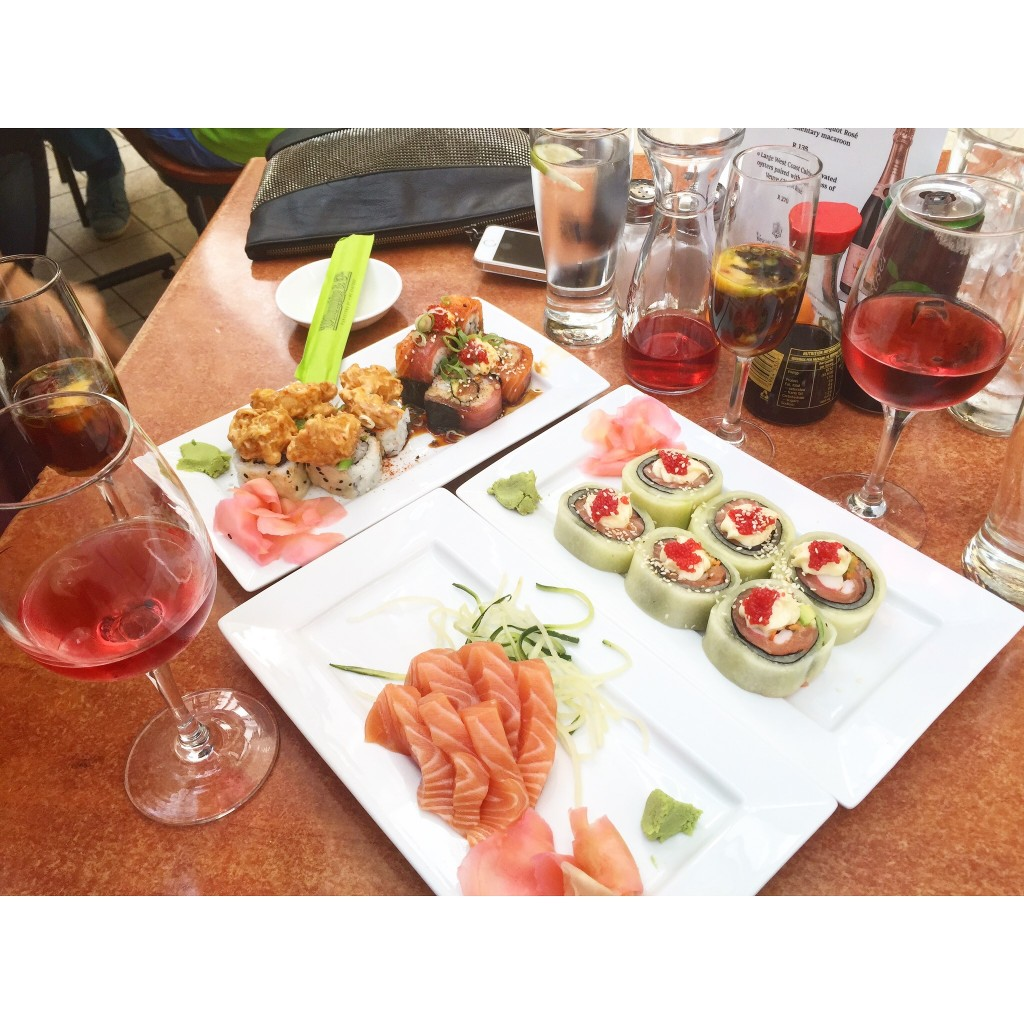 Willoughby & Co. sushi. Get the 4x4 roll, oyster shooters and of course... local rose wine.