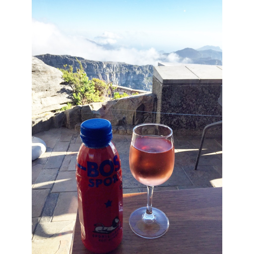 After spending a few hours on the trails, I cooled off at the restaurant with local rosé and a South African sports drink.