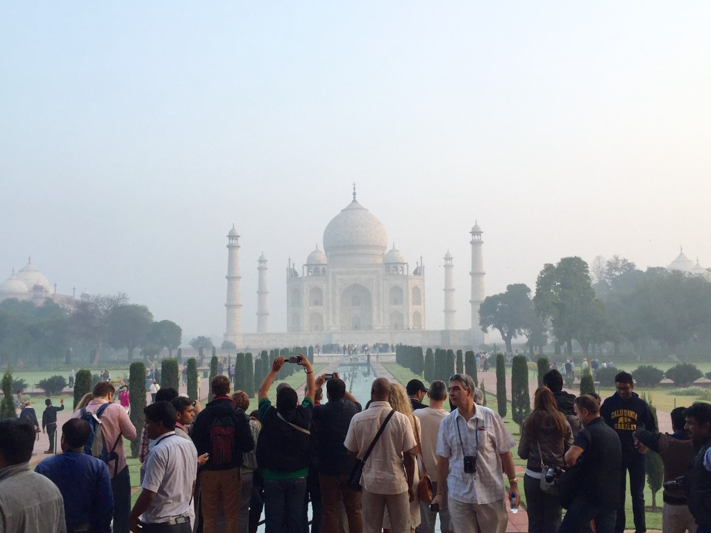 It's true, you can't ever have the Taj to yourself even in the early morning. But this small crowd sure does beat the afternoon mass!