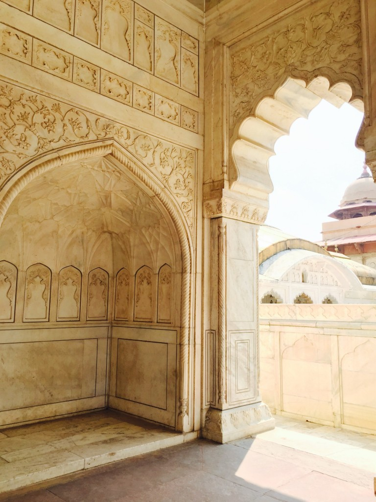 The white marble is so cooling to the touch and to the feet, especially in the brutal summer.