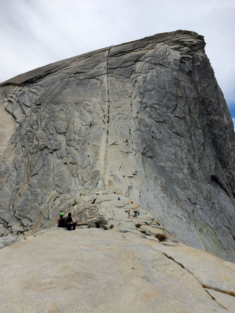 The Cable Ascent is 400 feet of slippery, vertical granite supported by wobbly poles holding in steel chains which you use to pull your body up.