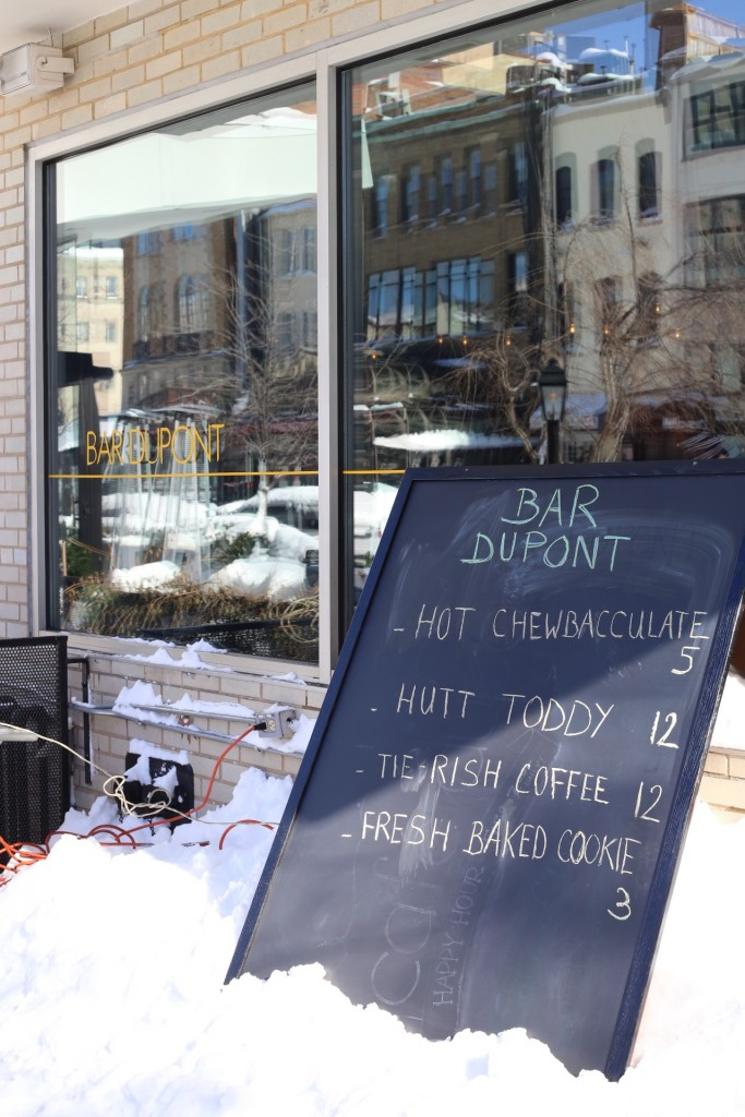 Watching the Dupont Circle Snowball Fight from Dupont Circle Hotel, Snow Bar with Star Wars themed drinks