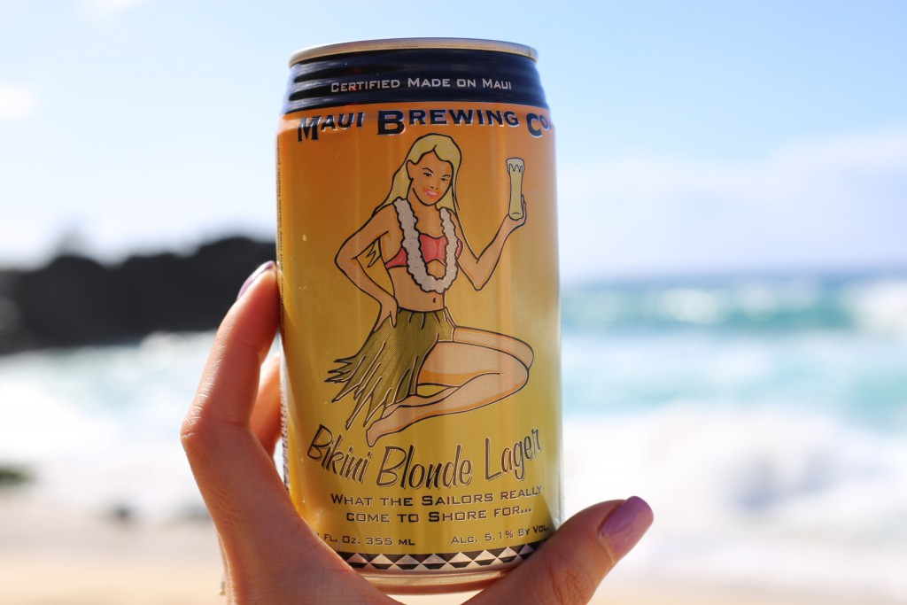 Since we couldn't jump off cliffs, we settled for a beer on the beach. Maui Brew!
